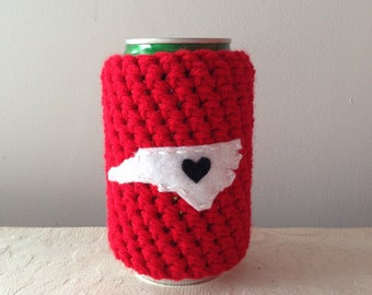 Raleigh, North Carolina Crochet Beer Cozy, Coffee Cup Cozy, Coffee Sleeve by Maroozi