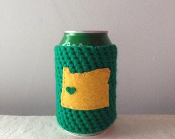 University of Oregon Football | Eugene, Oregon Crochet State Cozy, Beer Cozy, Coffee Cup Cozy, Reusable Coffee Sleeve by Maroozi