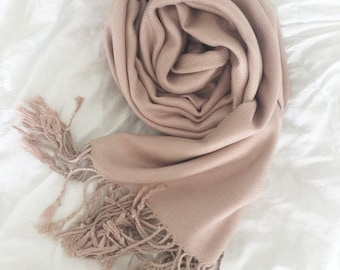 NUDE ROSE PEARL Wedding Pashmina. Bridesmaid wraps. Scarf