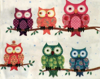 Owls, Decoupage paper napkins with colorful owls, size 33x33cm, Set of three paper napkins (no.28)