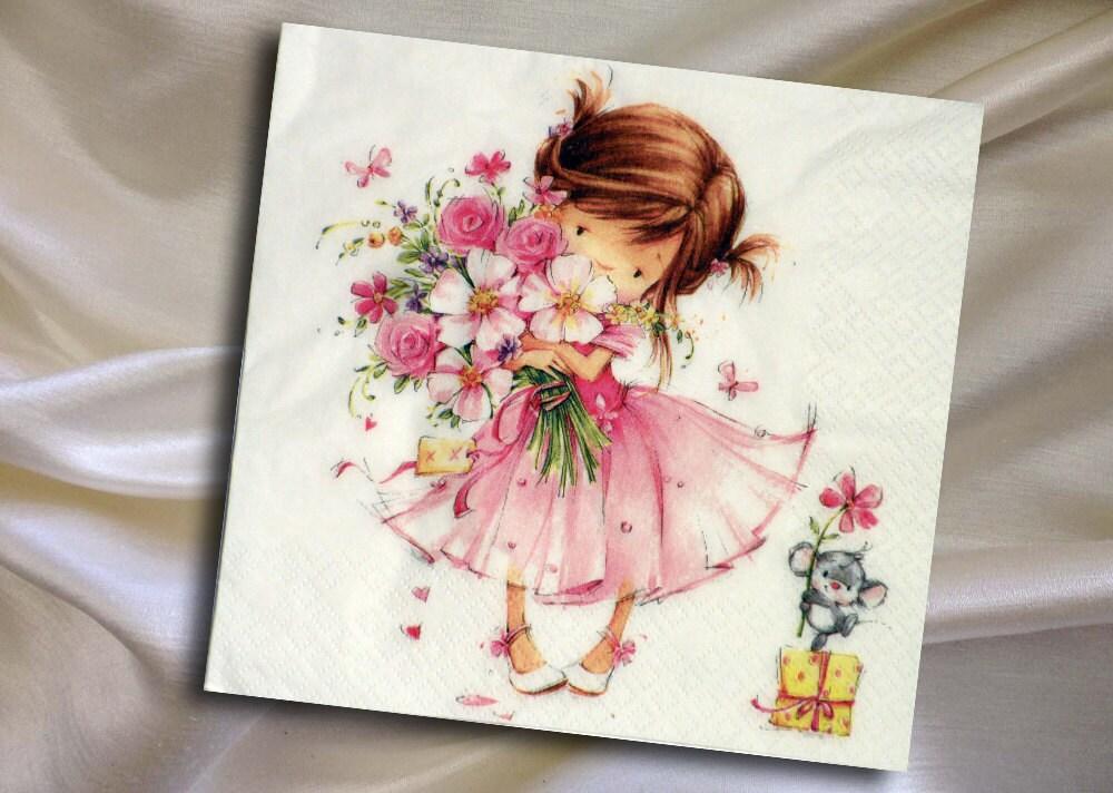 Paper Napkins For Decoupage Cute Girl Flower Girl Pink Etsy