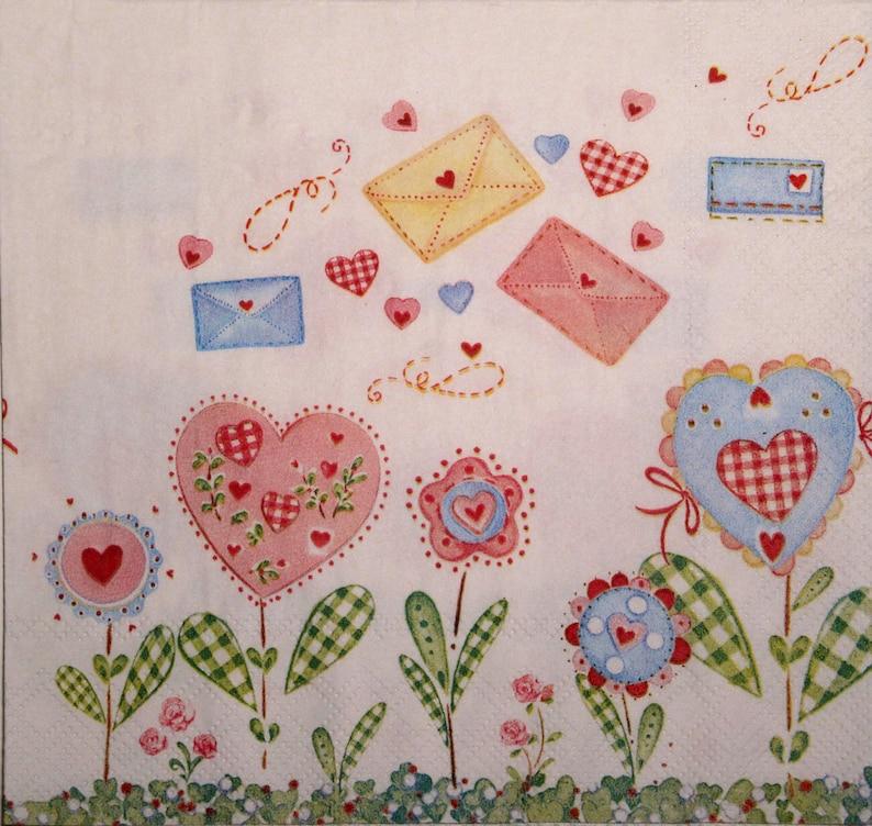 4 x PAPER NAPKINS Tissue Hearts Stripes Ideal for Decoupage Napkin Art Craft