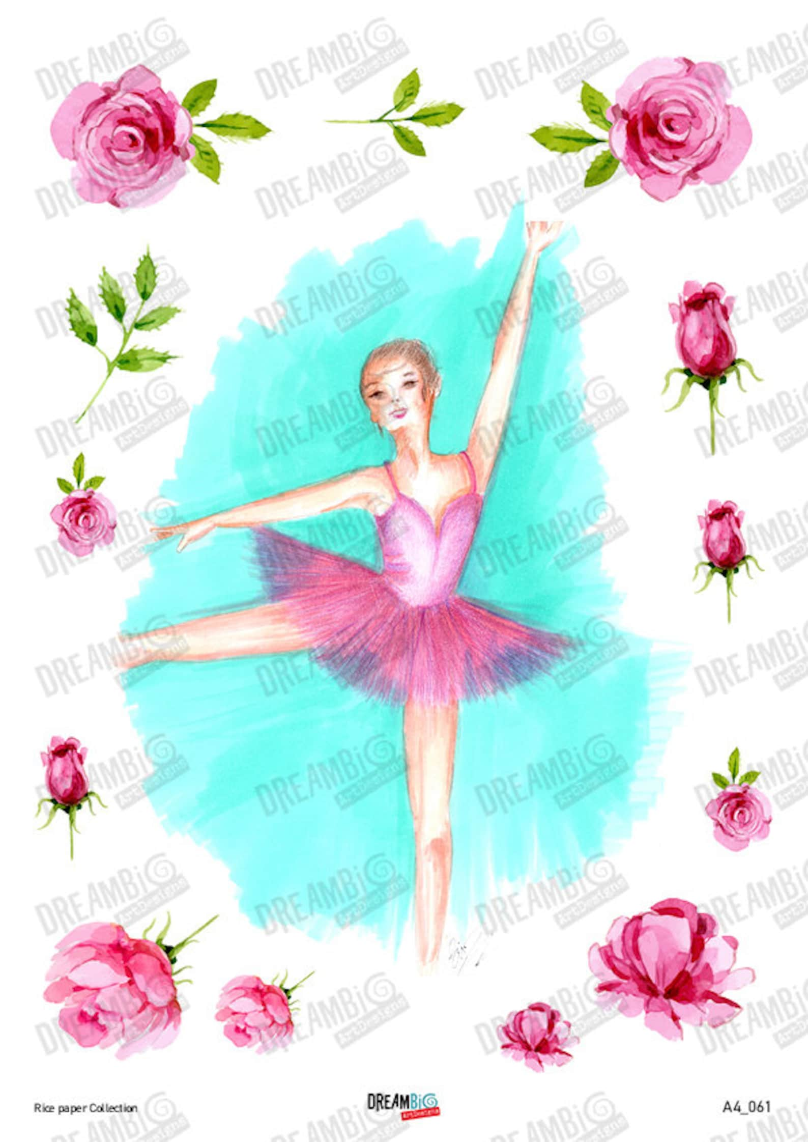 decoupage rice paper sheets a4 size ballet, ballerina, ballet shoes, pointe (no. 60,61)