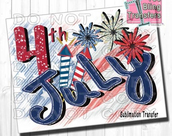 4th Of July Ready To Press Sublimation Transfer | Independence Day T-shirt Design Sublimation Transfer