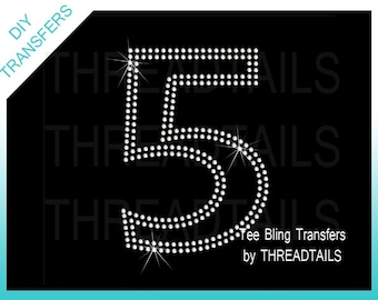 """Number 5  heat press 6"""" Rhinestone transfer or colored rhinestud heat press transfer.  Do it yourself iron-ons.  Customize shirt, tote, tee"""