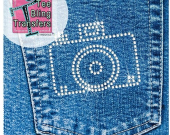 Camera Rhinestone Transfer | Pocket Iron On | Face Mask Decal | Heat Press Sparkly Transfer for DIY Projects.
