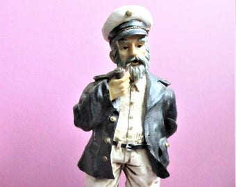 Sea Captain Figurine Large Nautical Collectible Gift For Men Vintage Faring Ship Old Salt