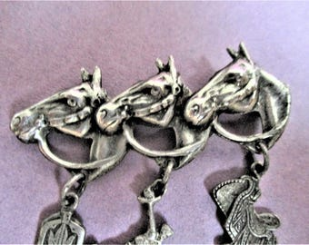 6480d9babc00 Horse Head Lapel Brooch Western Equestrian Pin Silver Tone Boots Saddle  Cowboy Charms Vintage Lapel Brooch Lapel Statement Pin