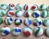 50 Green White Red Blue Vintage Marbles Color Coordinated Collection Children 39 s Game Craft Supply Jewelry Making Terrarium Supply