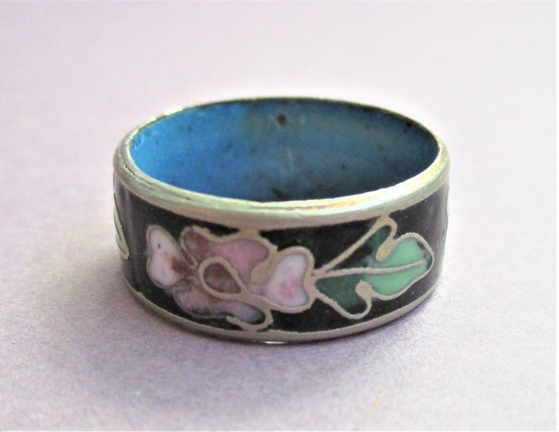 Wide Band Cloisonne Ring Black Pink Green /& Silver Cloisonne Ring Size 6 34 Vintage Silver Enamel Cloisonne Jewelry Gift for Women Girls