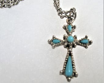 Turquoise Cross Pendant Necklace Vintage Gothic Silver Cross Statement Necklace Religious Pendant Cross Necklace Fashion Jewelry