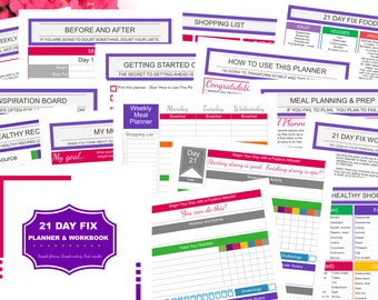 Printable 21 DAY FIX Fitness Planner for Beachbody 21 Day Fix workout program | Meal Planning | Portion Control Food Tracker