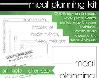 Meal Planning Printable - INSTANT DOWNLOAD - Menu Planning Guide - Grocery Lists - Weekly Meal Planner - Pantry Inventories - How To Guide