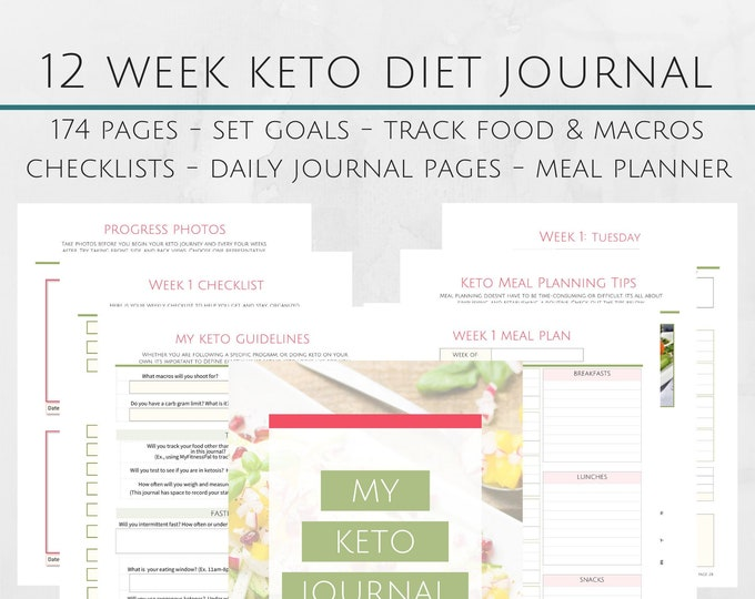 Featured listing image: Printable 12 Week Keto Journal & Workbook - 8.5x11 Letter Size PDF