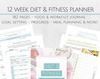 Printable 12 Week Diet and Fitness Journal - 8.5x11 Letter Size PDF - Goal Setting System - Meal Planning
