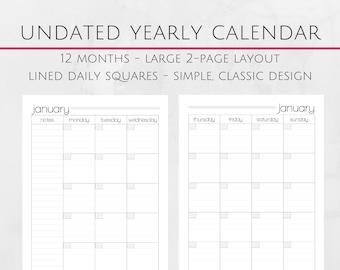 Printable Monthly Undated Calendar - 8.5x11 Letter Size PDF -  Undated Calendar Insert - Instant Download - Planner Calendar