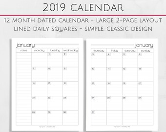 Printable 2019 Monthly Calendar - 8.5x11 Letter Size PDF - 2018 Planner Insert - Instant Download - Planner Calendar