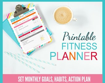 Printable Diet & Fitness Planner | perfect for BEACHBODY programs | 8.5x11 PDF