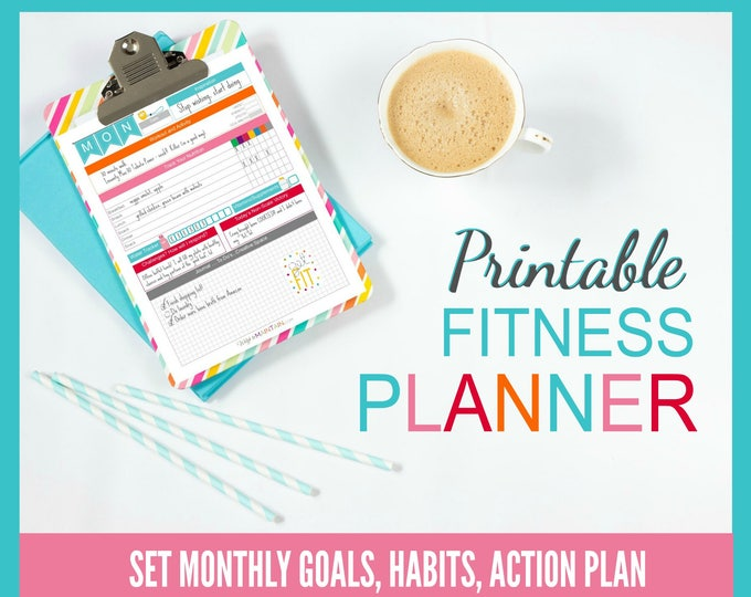 Featured listing image: Printable Diet & Fitness Planner   perfect for BEACHBODY programs   8.5x11 PDF