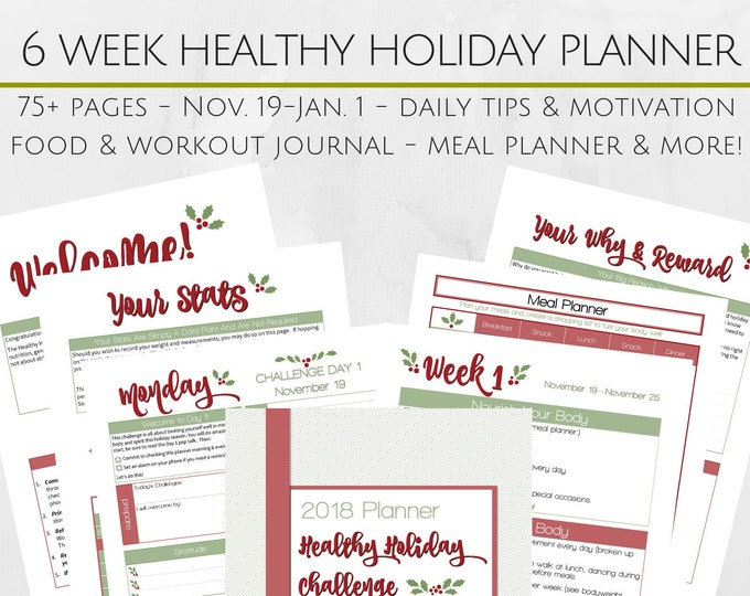 Featured listing image: Printable 6 Week Healthy Holidays Survival Guide - 8.5x11 Letter Size PDF - Food and Exercise Journal - Goal Setting - Meal Planning