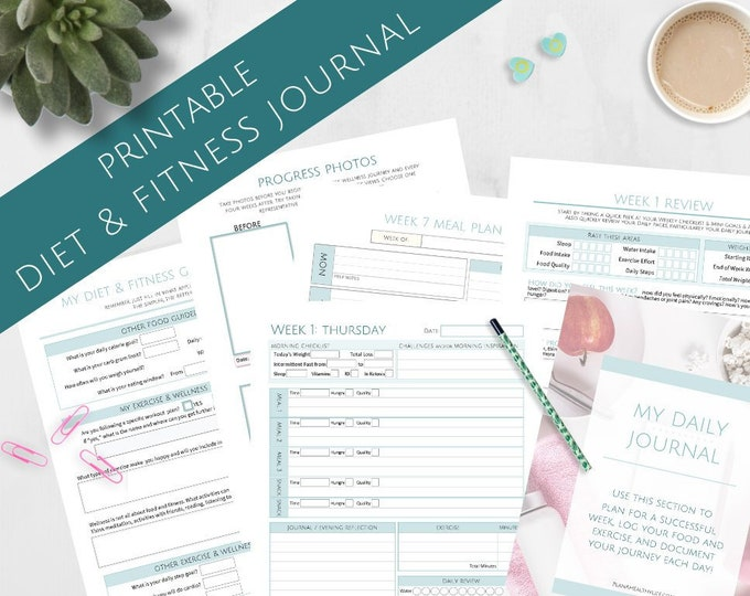 Featured listing image: Printable 12 Week Diet and Fitness Journal - 8.5x11 Letter Size PDF - Goal Setting System - Meal Planning
