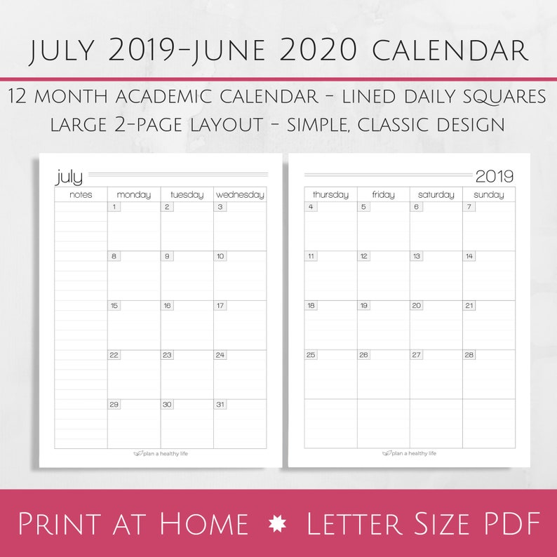 Calendar June 2020.Printable July 2019 June 2020 Academic Monthly Calendar 8 5x11 Letter Size Pdf Planner Insert Instant Download Planner Calendar