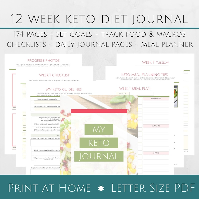 photo about Printable Keto Meal Plan named Printable 12 7 days Keto Magazine Workbook - 8.5x11 Letter Dimension PDF
