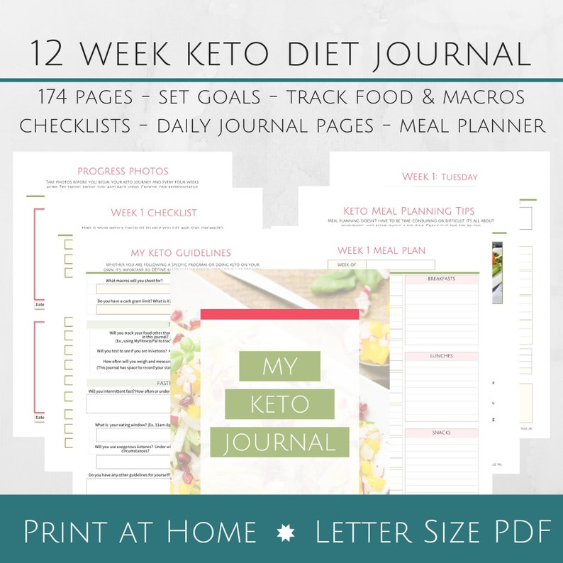 Printable 12 Week Keto Journal & Workbook - 8 5x11 Letter Size PDF