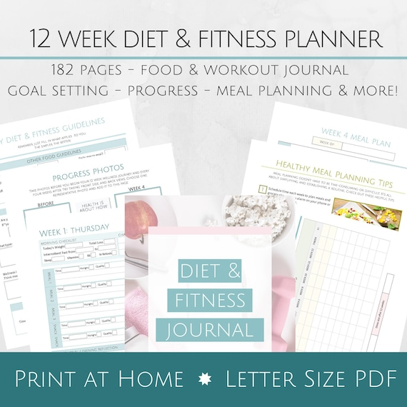image about Printable Fitness Journals identify Printable 12 7 days Eating plan and Physical fitness Magazine - 8.5x11 Letter Sizing PDF - Function Natural environment Process - Dinner Designing