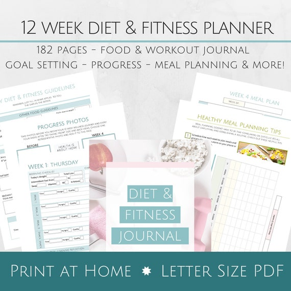 photograph regarding Printable Fitness Journals named Printable 12 7 days Diet program and Health and fitness Magazine - 8.5x11 Letter Measurement PDF - Objective Atmosphere Procedure - Supper Coming up with