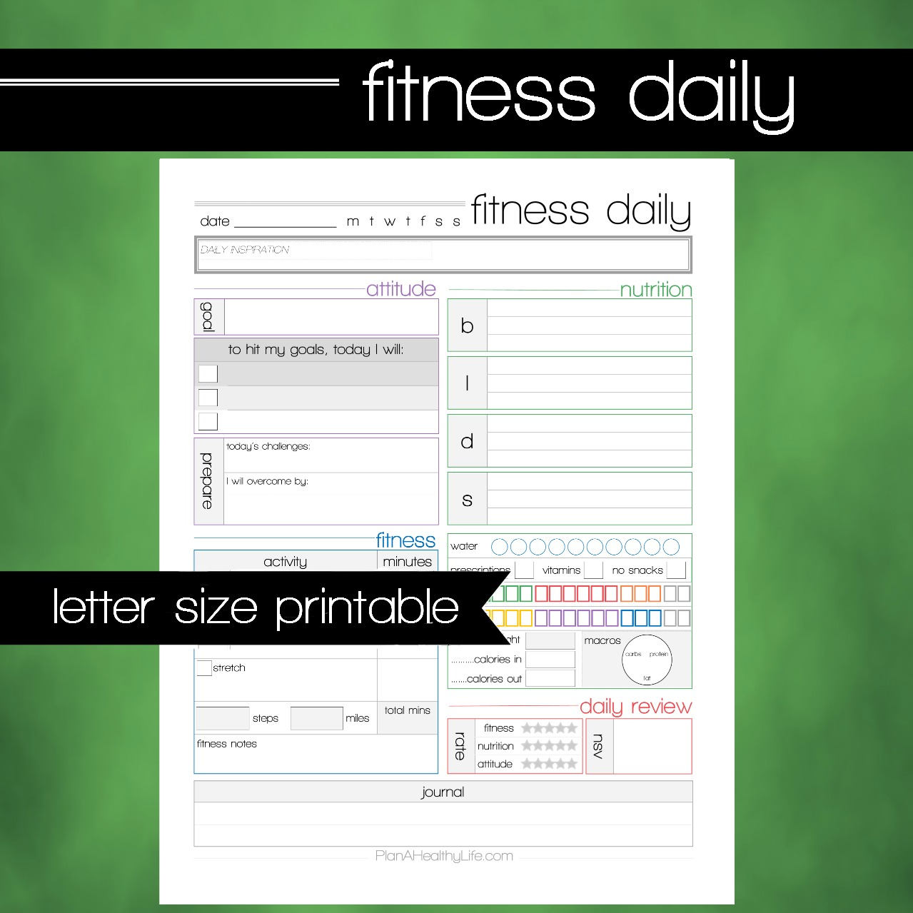 Printable Fitness Health Daily Tracking Worksheet 85x11 Letter