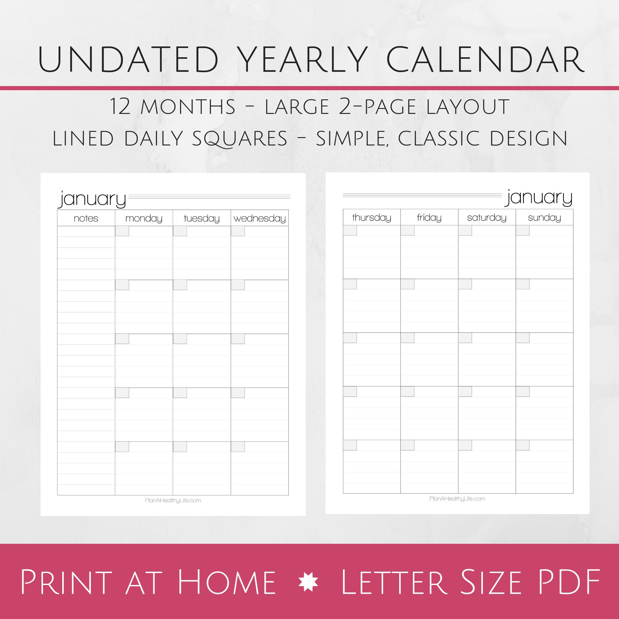 Printable Monthly Undated Calendar 8.5x11 Letter Size PDF