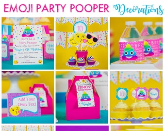 Emoji Party Decorations INSTANT DOWNLOAD Printable Pooper Birthday By Studio