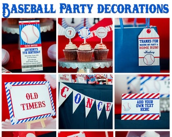 Baseball Party Decorations INSTANT Download - Baseball Birthday Party by Printable Studio