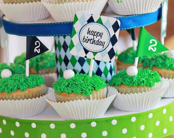 Golf Party Cupcake Toppers - Instant Download Golf Cupcake Toppers - Printable Cupcake Toppers by Printable Studio