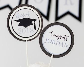 Graduation Party Centerpiece in Black Silver - Instant Download Graduation Centerpieces - Printable Graduation Table Decor in Silver
