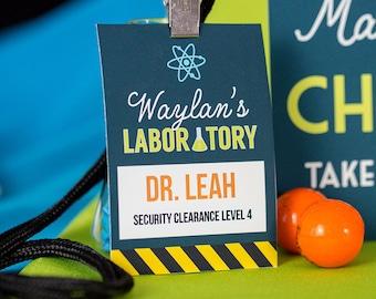 science party id badge scientist badge science lab badge etsy
