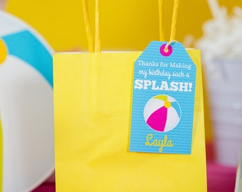 Pool Party Favor Tags INSTANT DOWNLOAD - Printable Girls Pool Party Thank You Tags by Printable Studio