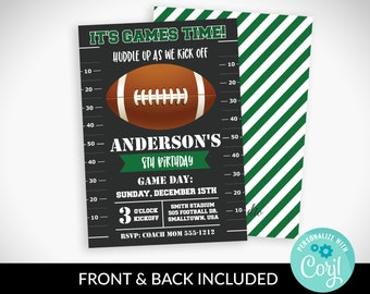 Football Party Invitation Instant Download