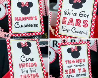 Red Minnie Mouse Party Signs