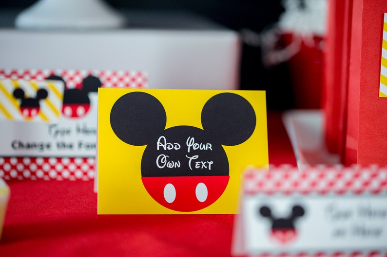Mickey Mouse Food Labels Mickey Mouse Birthday Party Food Tent Printable Mickey Mouse Buffet Labels  by Printable Studio