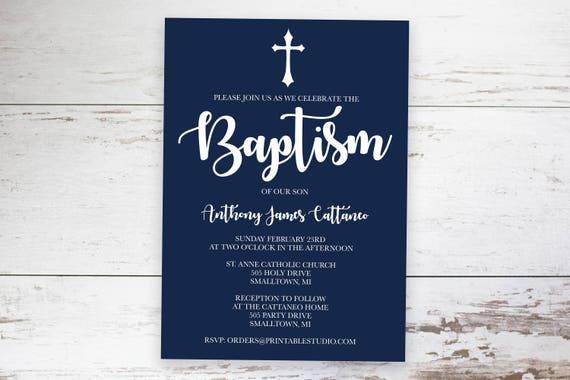 Baptism Invitation Baptism Invitation Boy Navy Baptism Etsy