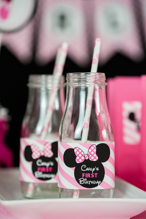 Minnie Water bottle label and Minnie Digital Favor tag Printable combo set for Minnie Mouse birthday