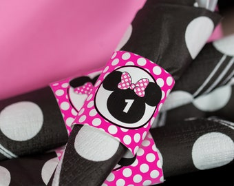 Minnie Mouse Napkin Ring in Bright Pink  - Printable Minnie Party Silverware Wrapper - Minnie Napkins - Hot Pink Minnie Mouse Napkins