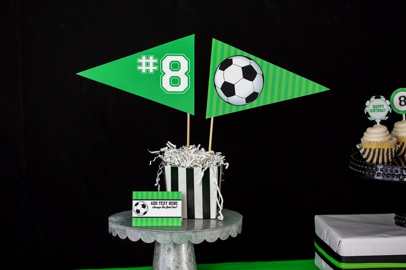 Soccer Centerpiece Flags by Printable Studio Instant Download Soccer Party Table Decorations Soccer Party Centerpiece