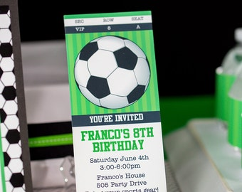 Soccer Party Invitation INSTANT DOWNLOAD  - Printable Soccer Ticket Invitation by Printable Studio