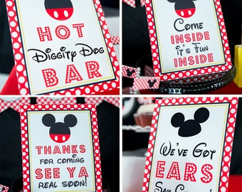 Mickey Mouse Party Signs - Instant Download Mickey Mouse Party Signs - Printable Set of Mickey Mouse Sign by Printable Studio
