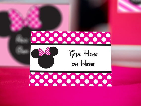 Pink Minnie Mouse Food Labels INSTANT DOWNLOAD