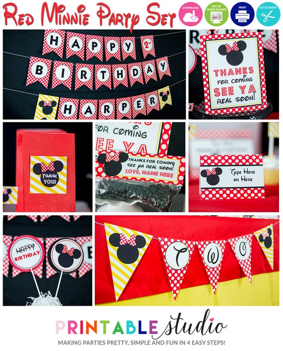 Red Minnie Mouse Party Decorations Instant Download Red Minnie Mouse Birthday Party By Printable Studio