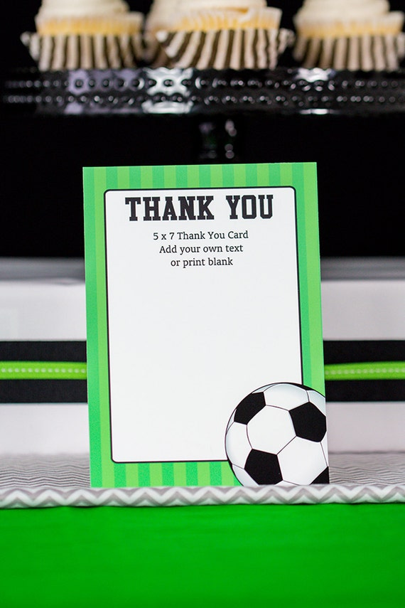 Soccer Party Thank You Card Soccer Thank You Card Instant Etsy